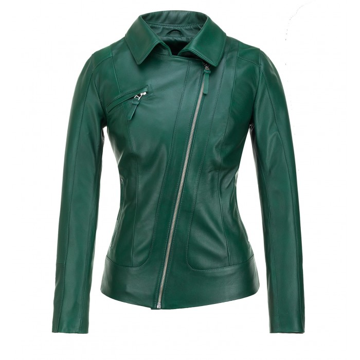 zielona kurtka skórzana damska