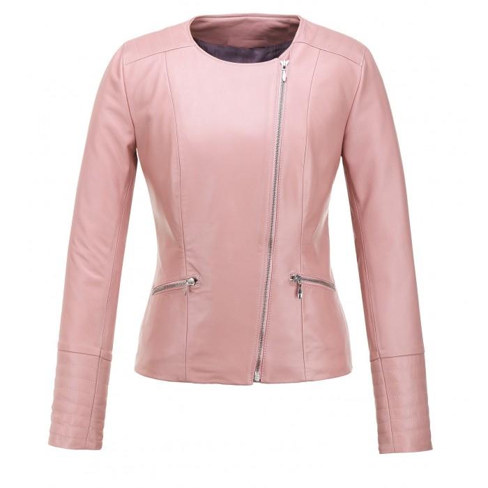 kurtka skórzana damska różowa