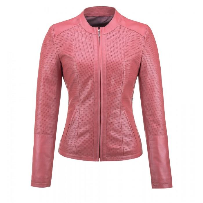 różowa kurtka skórzana
