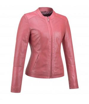 kurtka skórzana różowa