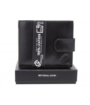 czarny skórzany portfel