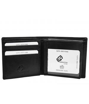 męski czarny skórzany portfel