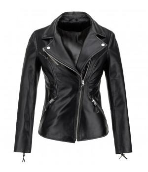 czarna kurtka skórzana stylizowana
