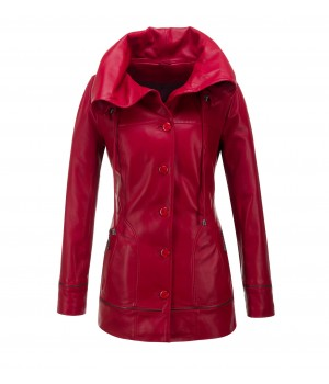 Płaszcz damski skórzany czerwony
