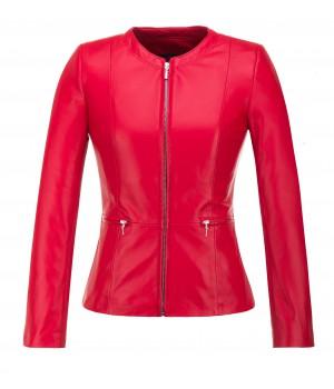kurtka czerwona skórzana