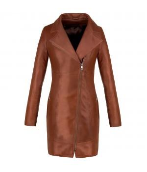 płaszcz skórzany damski brązowy