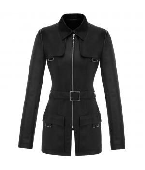 skórzany płaszcz damski czarny