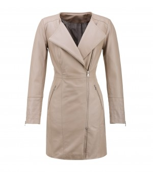 Stylowy płaszcz damski skórzany