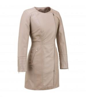 Płaszcz damski skórzany beżowy