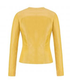 żółta kurtka skórzana damska