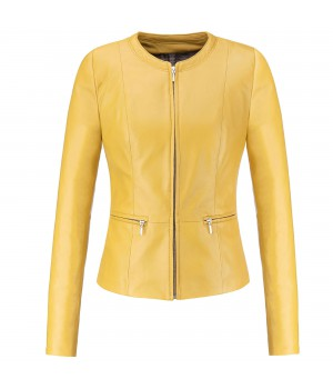 kurtka skórzana damska zółta