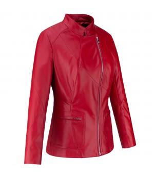 damska czerwona kurtka skórzana