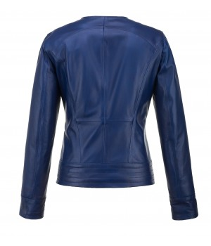 niebieska kurtka skórzana damska