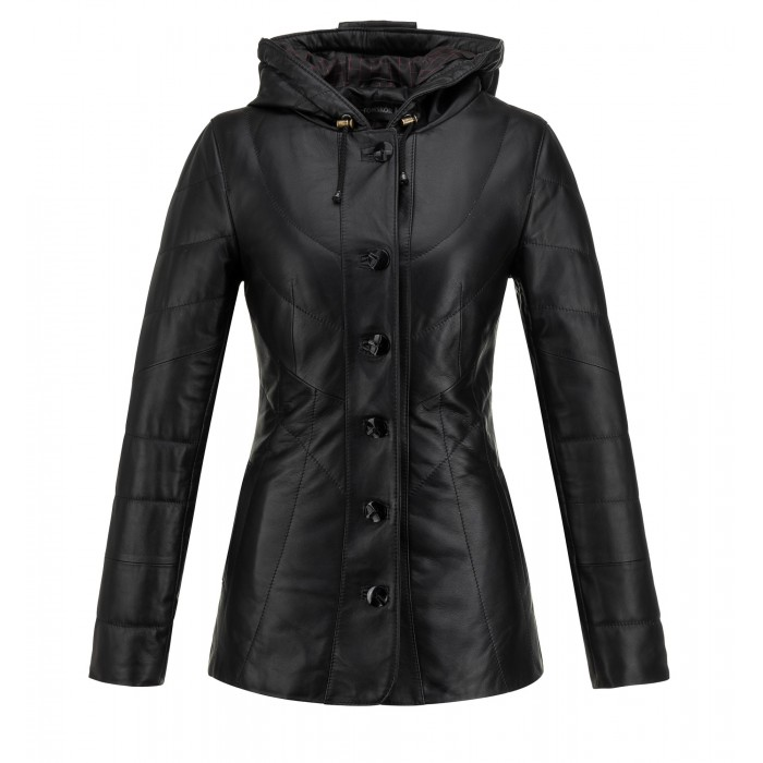 ciepła kurtka skórzana damska czarna