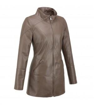 beżowy płaszcz skórzany damski