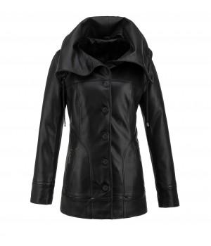 Czarny płaszcz damski skórzany