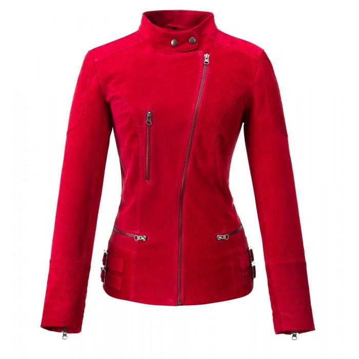 kurtka skórzana damska czerwona